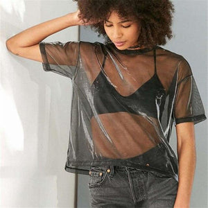 Chic Sexy Mesh 90s Throwback Sheer Top, Woman's Fashion - MySiliconDreams