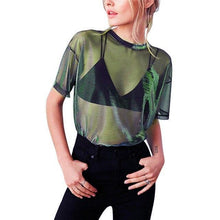 Load image into Gallery viewer, Chic Sexy Mesh 90s Throwback Sheer Top, Woman's Fashion - MySiliconDreams
