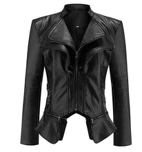 Load image into Gallery viewer, Classic Elegant Faux Leather Jacket, Jacket - MySiliconDreams