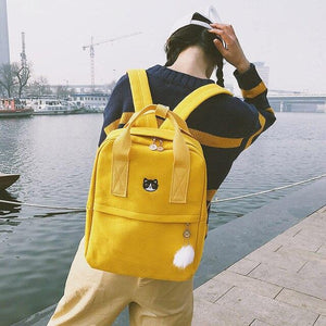 Embroidered Canvas Backpack, Outdoors - MySiliconDreams