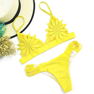 Embroidered Flower Brazilian Bikini, swimwear - MySiliconDreams