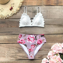 Load image into Gallery viewer, Floral Tropical Print High-Waist Bikini Set, Swimwear - MySiliconDreams