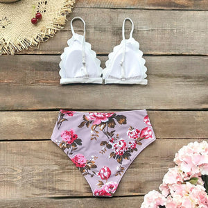 Floral Tropical Print High-Waist Bikini Set, Swimwear - MySiliconDreams