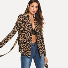 Load image into Gallery viewer, Highstreet Collar Belted Leopard Print  Blazer, Jacket - MySiliconDreams