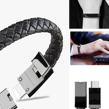 Load image into Gallery viewer, Leather Smartphone Charging Bracelet, Smartphone Charger - MySiliconDreams