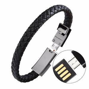 Leather Smartphone Charging Bracelet, Smartphone Charger - MySiliconDreams