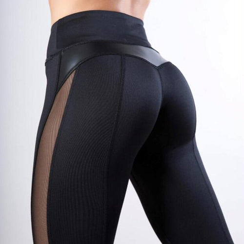 Leather Winter Warm Black Mesh Leggings - Bat Girl is Jealous, Sportswear - MySiliconDreams