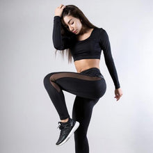 Load image into Gallery viewer, Leather Winter Warm Black Mesh Leggings - Bat Girl is Jealous, Sportswear - MySiliconDreams
