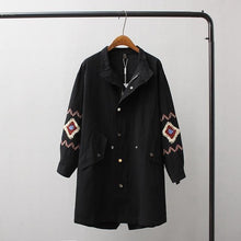 Load image into Gallery viewer, Long Casual Embroidered Trench Coat, Fashion - MySiliconDreams