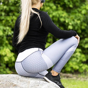 Mesh Pattern Elastic Tight Fitness Leggings, Sportswear - MySiliconDreams
