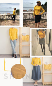 Mustard Puff Sleeve Pullover, T-Shirt - MySiliconDreams