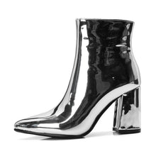 Load image into Gallery viewer, NEW Sliver Gold Ankle High Heel Metallic Stiletto Boots, Shoes - MySiliconDreams