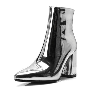 NEW Sliver Gold Ankle High Heel Metallic Stiletto Boots, Shoes - MySiliconDreams