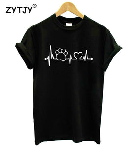Paw Heartbeat Cotton T-Shirt, T-Shirt - MySiliconDreams