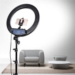 18in LED Ring Light with Stand (72in) - Hot and Warm Light