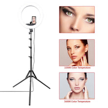 Load image into Gallery viewer, 18in LED Ring Light with Stand (72in) - Hot and Warm Light