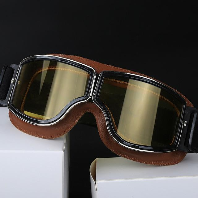 Retro Style Vintage Leather Motorcycle Goggles, Mobility - MySiliconDreams