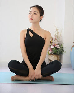 Single Shoulder Strap Sports Tank Top, Sportswear - MySiliconDreams