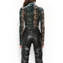 Load image into Gallery viewer, Snake Skin Print Bodysuit, T-Shirt - MySiliconDreams