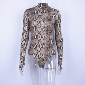 Snake Skin Print Bodysuit, T-Shirt - MySiliconDreams