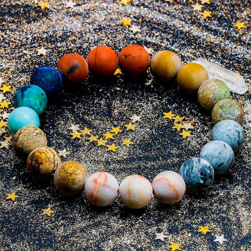Solar System Planet Constellation Natural Stone Beads Bracelet, Jewelry - MySiliconDreams