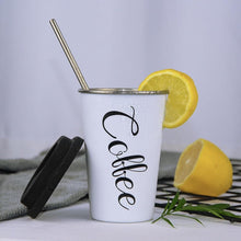 Load image into Gallery viewer, Sustainable Reusable Coffee Cup with Reusable Steel Straw, Coffee Cup - MySiliconDreams