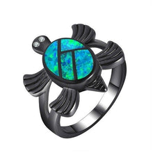 Load image into Gallery viewer, Unique Blue Fire Opal Turtle Ring, Rings - MySiliconDreams