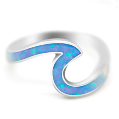 Unique Silver Blue Fire Opal Ocean Wave Ring, Rings - MySiliconDreams