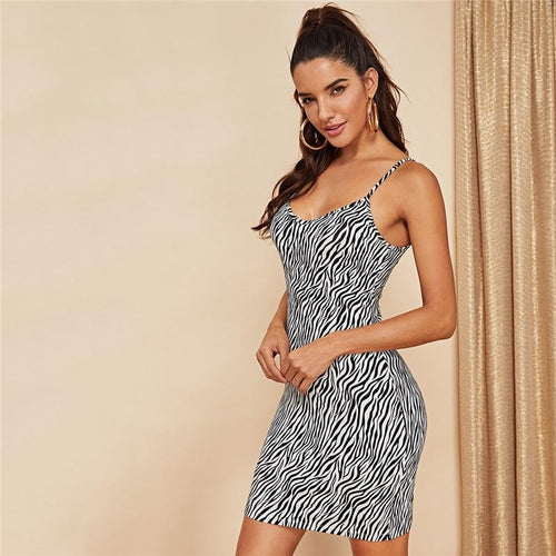 Zebra Print Cami Sexy Dress, Dress - MySiliconDreams