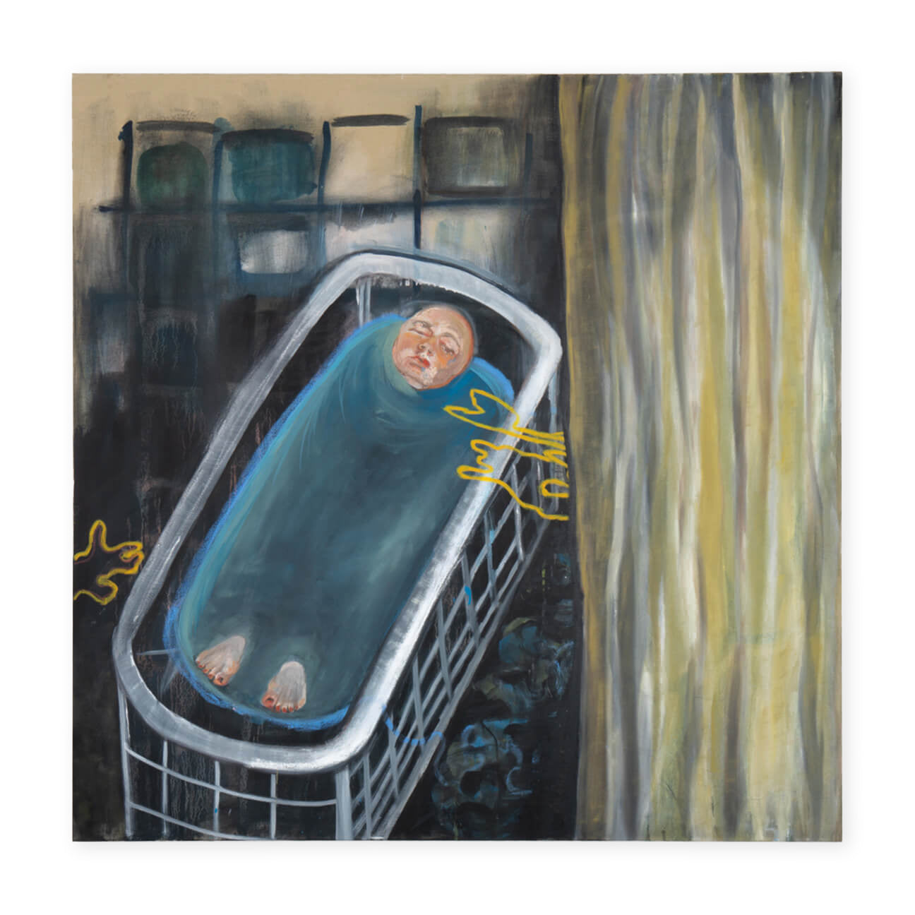 """A bath fraught with memories"" – 150 x 150 cm"
