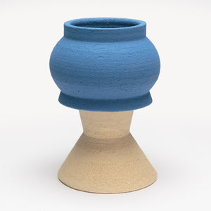 Two-Part Plant Pot in White and Blue