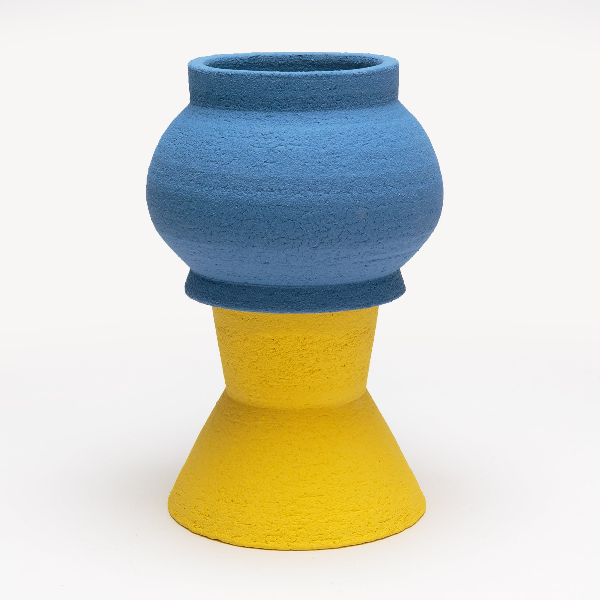 Two-Part Plant Pot in Yellow and Blue