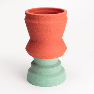 Two-Part Plant Pot in Red and Aqua