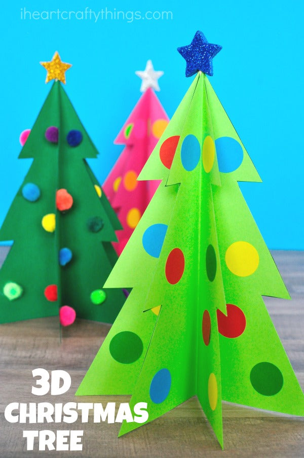 COLORFUL 3D CHRISTMAS TREE CRAFT