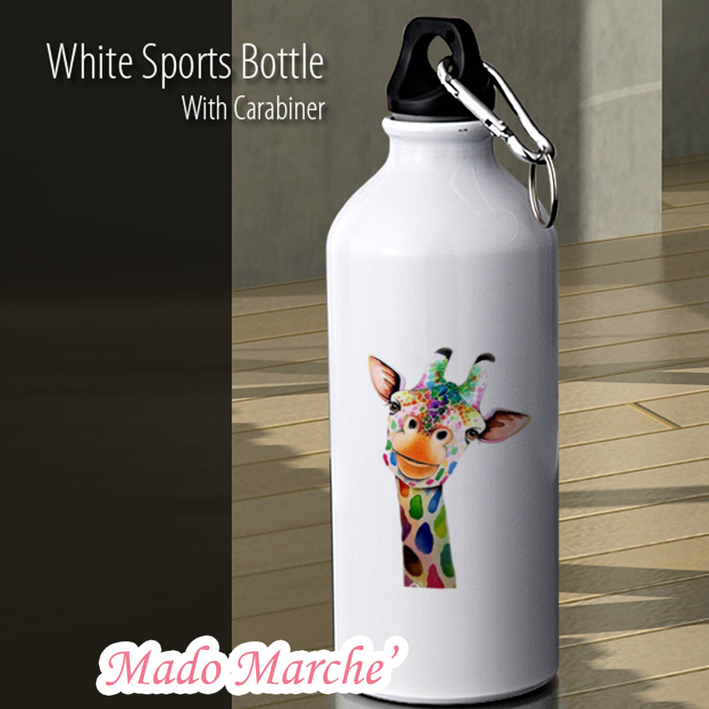 Giraffe Aluminium White Drink Bottle 600ml Capacity