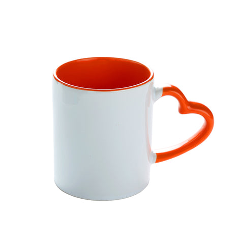 Coloured Mug Internal and heart hand Red