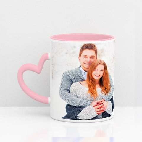 Coloured Mug Internal and heart hand Pink