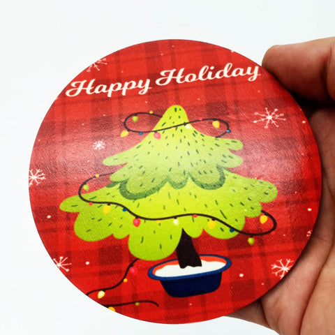 Image of Round Christmas Coaster - Wood