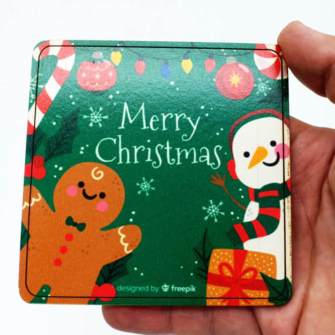 Image of Square Christmas Coaster - Wood