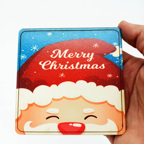 Square Christmas Coaster - Wood