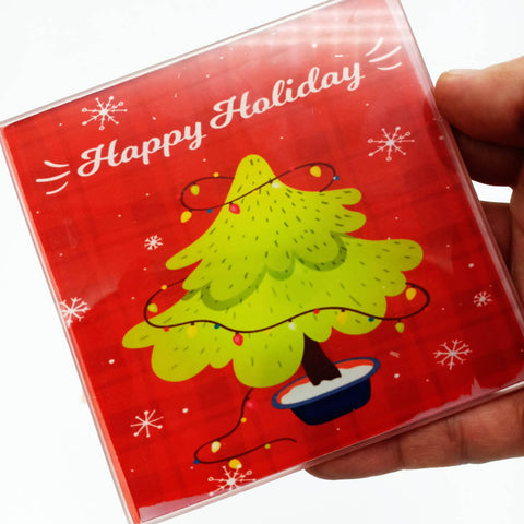 Image of Square Christmas Coaster - Glass