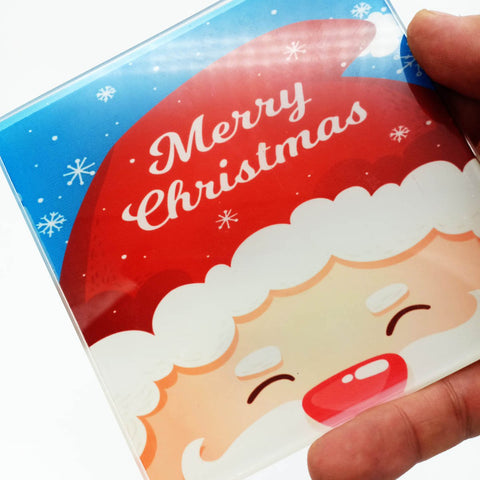 Square Christmas Glass Coaster