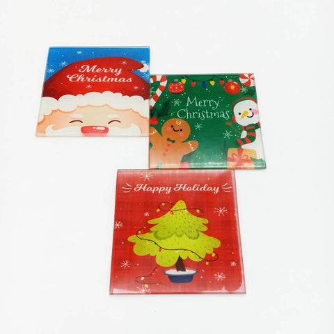 Image of Square Christmas Glass Coaster
