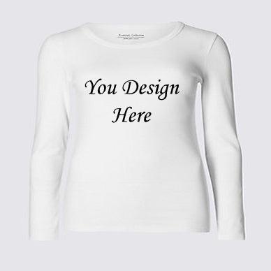 Custom Your T-Shirt With Your Design Long Sleeve- White