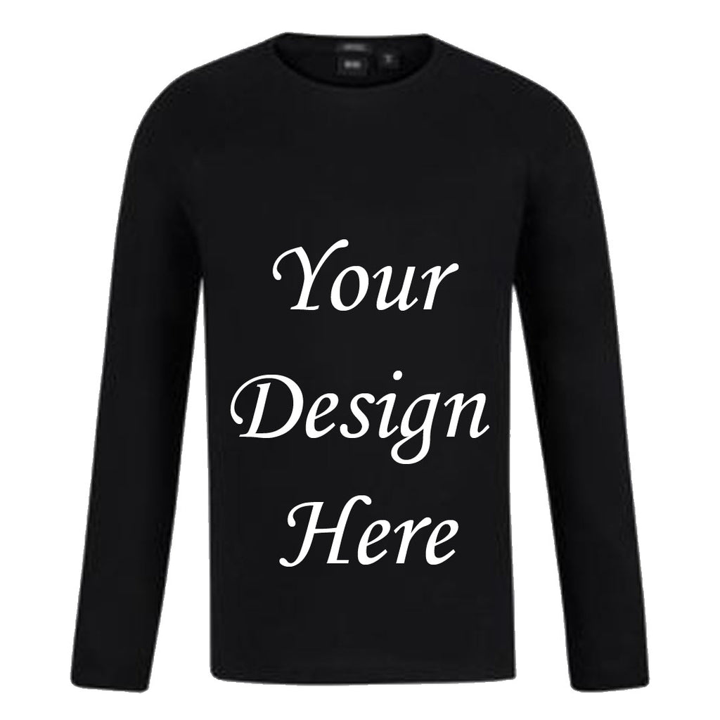 Custom Your T-Shirt With Your Design Long Sleeve- Black