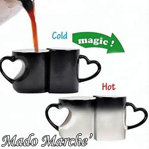 Custom Couple Magic Mug - Heart Hand