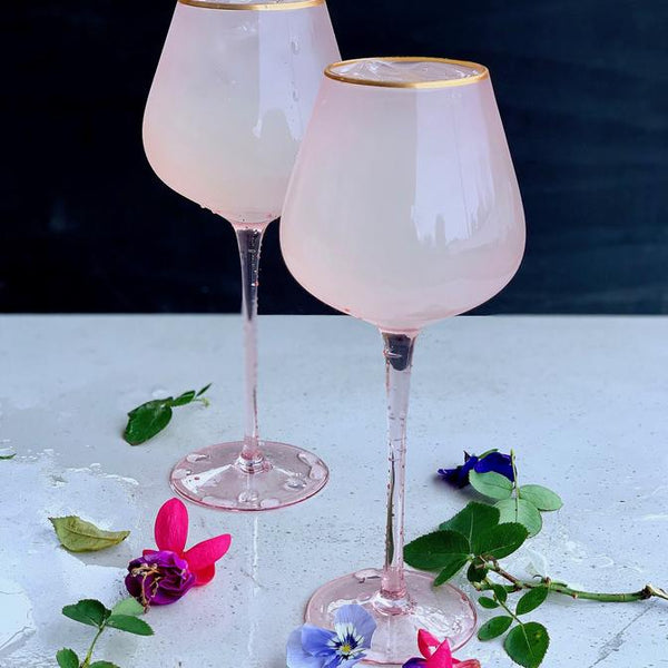 Crystal Red Wine Glass Pink/Gold set 4