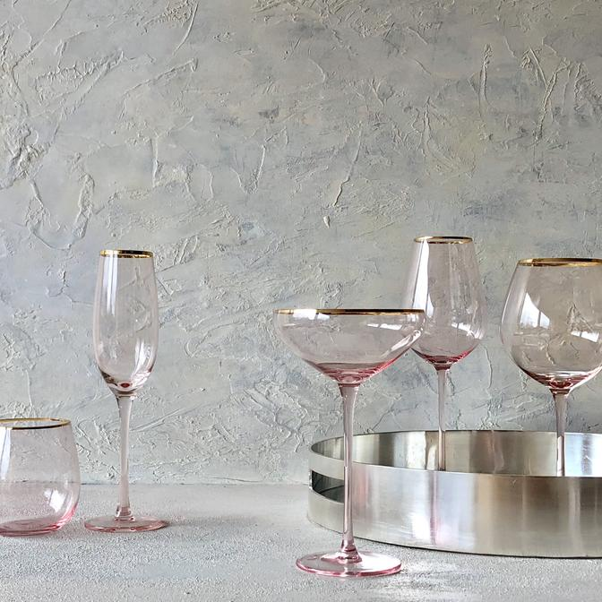 Crystal White wine Glass Pink/Gold set 4