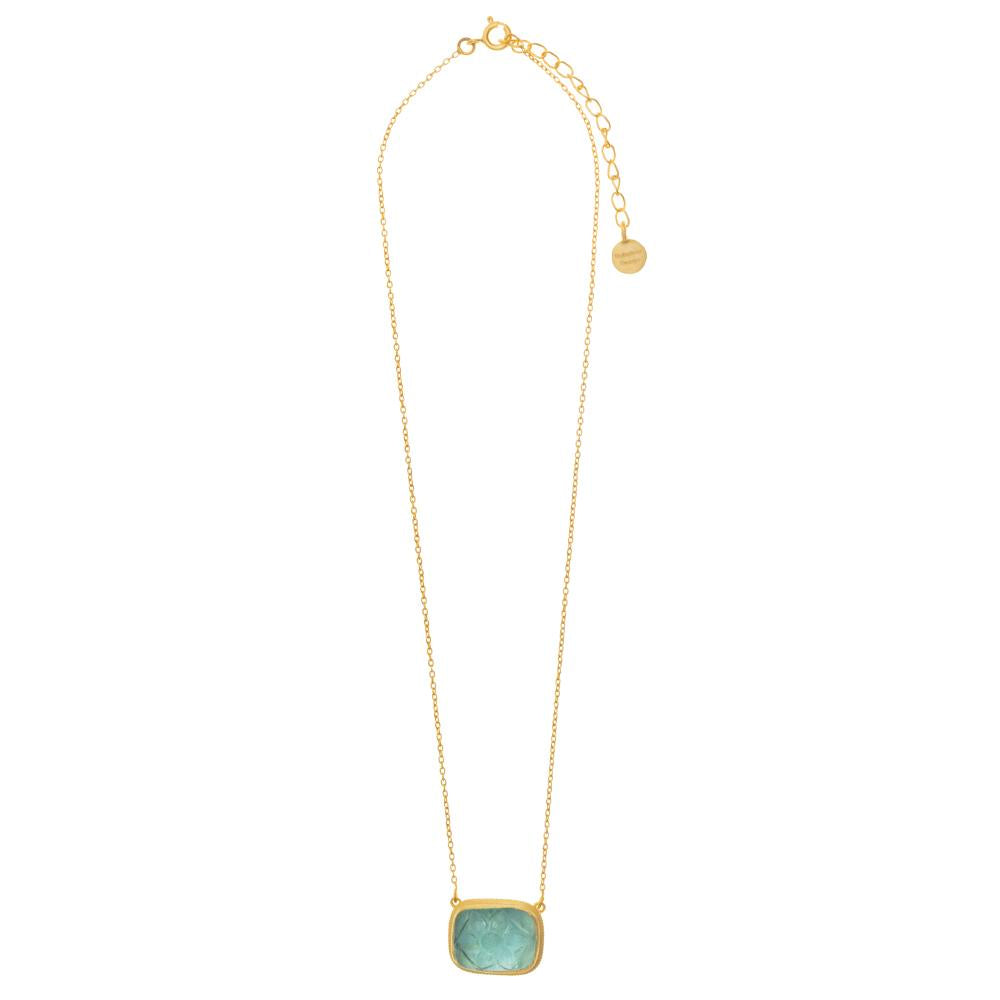 Blue Topaz caved glass pendant set in 18k Matte Gold Plate