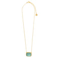 Blue Topaz caved glass pendant set in 18k Matte Gold Plate - Phoenix and the Turtle